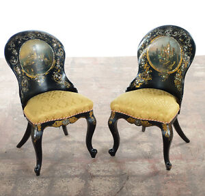 19th c. Pair of English Mother of Pearl Inlaid Papier Mache Side Chairs-c1850s