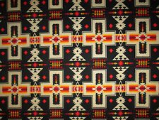 Navajo Indian Cross Black Orange Print Cotton Fabric FQ