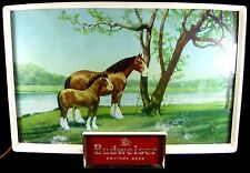 "Vintage 1950's Budweiser Brand Beer Clydesdale Horse & Foal 20""l Lighted Sign"