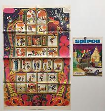POSTER FUSEE SCHTROUMPFS + MINI RECIT + JOURNAL SPIROU N° 1633 1969  BD FRANQUIN