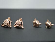 2 Pack Pair 14K/14ct Rose Gold Plated Fox Head Stud Earrings Set Gift