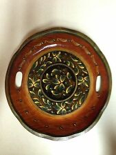 Vtg Mexican Hand Painted Floral Handled Wood Bowl Tray Batea Tole Dish ~ 13""