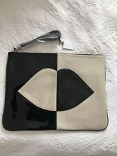 NEW!! LULU GUINNESS HUG AND HOLD LEATHER CLUTCH POUCH BAG Black/Stone