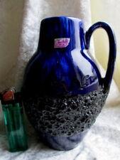 FAT LAVA Keramik Henkel Vase - SCHEURICH - Nr. 414-16 W.Germany - BLAU/SCHWARZ