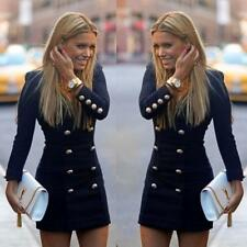 Fashion clever Women Slim Long Sleeve Buttons Casual Bodycon Cocktail Mini Dress