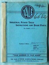 VINTAGE 1943 YALE FORKLIFT MODEL KM30-2M SERVICE & PARTS MANUAL