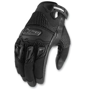 Icon Twenty-Niner Womens Leather/Textile Motorcycle Gloves Black 2XL