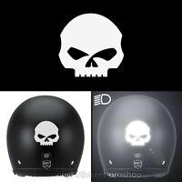 Sticker Harley Davidson Skull 6,3 cm par 6,5 cm Adhésif Réfléchissant Blanc