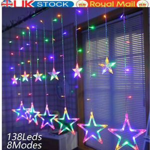 Christmas LED Curtain Window Snowflake String Fairy Lights Waterproof Decor UK
