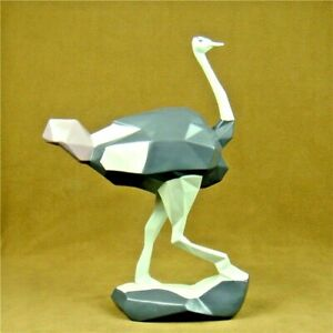 Geometric Ostrich Statue Figurine Sculpture Tabletop Home Office Decoration Art