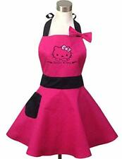 Lovely Hello Kitty Pink Retro Kitchen Aprons for Woman Girl Cotton Cooking Note