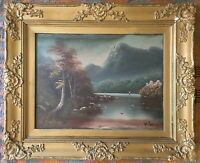 Vintage Oil On Board Lake Scene Signed W Collins In Gilt Frame Painting