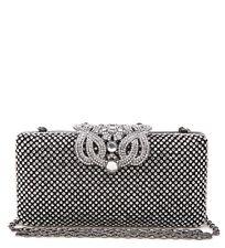 New Ladies Black Diamante Box Clutch Bag Bridal Prom Evening Wedding Purse