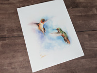 Watercolor Hummingbird Art, Hummingbird Wall Art, Bird Artwork, Bird Wall Art