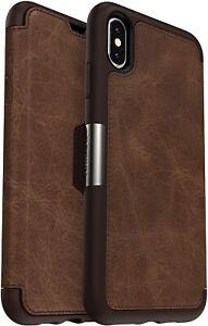 OtterBox STRADA SERIES Leather Folio Case iPhone XS MAX - Espresso Easy Open Box