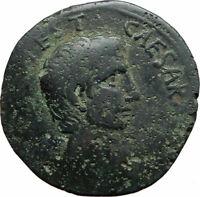 AUGUSTUS Authentic Ancient 15BC Rome Genuine Original Roman As Coin i74607