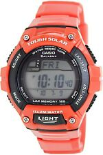 Casio WS220C-4A Tough Solar 120-LAP Memory Stopwatch Sports Watch - Glossy Red