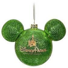 Disney Store Green Mickey Icon Christmas Ornament - NEW -