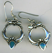 "925 STERLING SILVER  Turquoise Drop Earrings   length 1.1/2""   39mm"