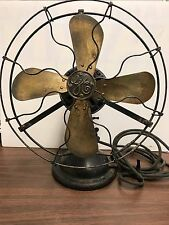 "Vintage 12"" GE Brass 4 Blade  Fan General Electric WORKS Unrestored"