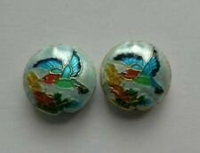 2 Cloisonne Beads, Ornate Floral/Bird, Blue/Multicolour 18 mm, Jewellery/Beading
