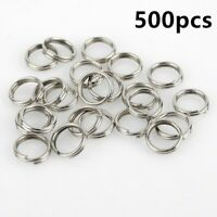 500pcs Fishing Solid Stainless Steel Snap Split Ring Lure Tackle Connector