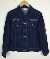 VINTAGE RETRO 90s DENIM JACKET 90'S FLORAL EMBROIDERED GRUNGE URBAN UK M