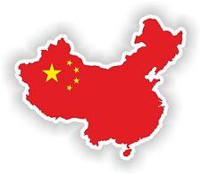 Sticker Silueta China Mapa Bandera Para Parachoques Guitarra Patineta Locker Tablet
