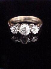 Periodo edoardiano 18ct PLATINUM 3 Pietra Vecchia taglio anello di diamanti 0.45ct