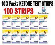 Ketone Test Strips 10xPacks (100 Strips)  FreeStyle Optium Blood Ketone Abbott