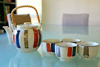 Vintage Japanese Tea Set includes Teapot and 4 Cups Bamboo Wrapped Handle Glaze