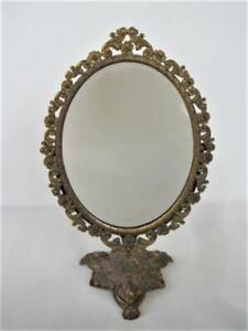 Vintage italian Brass Tone Rococo Hollywood Regency Style Cheval Vanity Mirror