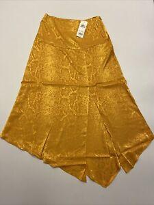 Miss Selfridge Yellow Snake Print Jacquard Midi Skirt Front Slit UK 8 EU 36 BNWT