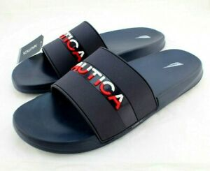 New NAUTICA Wakefield Size 11 Navy Blue with Red & White Logo Slide Men's Sandal