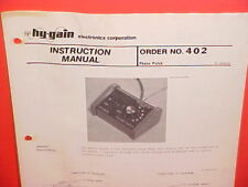 1975 HY-GAIN CB RADIO PHONE PATCH OWNERS INSTRUCTION MANUAL PN 804378 MODEL 402
