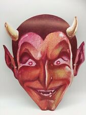Vintage Halloween Mask Paper Card Devil Satan Scary Horror Evil Creepy 1970s