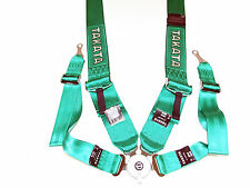 "Takata RACE 4 Point Bolt-On 3"" Racing Seat Belt Harness with Camlock (Green)"