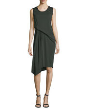 Elie Tahari Isolde Sleeveless Draped Black Jersey Dress, Camouflage, sz S