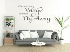 """""""Give your stress Wings"""" Motivational Inspire Wall Art Sticker Quote Vinyl Decal"""