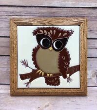 Vintage Handpainted Tiles by Siegel Arts Brown Owl Hoot Bird Ceramic Wood Framed