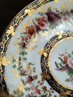 Antique hand painted gilded ceramic plate, 8.5 inches