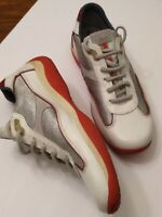 Prada Men white gray grey red sneakers 1135 size US 11 fashion leather Italy