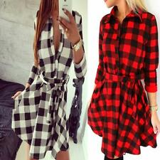 Womens Winter Plaid Check Short Dress Tunic Tartan Shirt Romper Vintage Punk New