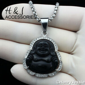"""18-36""""MEN Stainless Steel 3mm Silver Box Chain Necklace Black BUDDHA Pendant*117"""