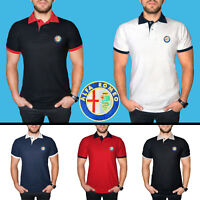 Uomo Alfa Romeo Maglietta Polo COTONE RICAMATO Auto Logo Camicia T Shirt Tee