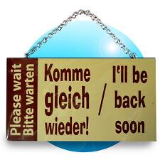Schild Spruch Wandhänger Holz Schilder Sprüche Please wait Bitte warten komme