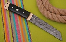 CUSTOM HAND FORGED DAMASCUS Steel Hunting Tanto Knife W/Horn & Copper Handle
