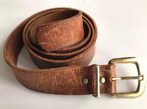 "Vintage Brown Leather Brass Buckled Belt Size 32"" 34"" Retro 70's Tan Hide Large"