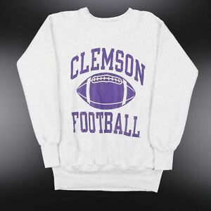 Vintage CHAMPION  Clemson Tigers Grey Sports Crew Neck Sweatshirt Mens L