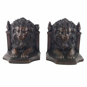 "Antique JB 2145 Jennings Brothers Lion Bronze Toned Bookends Cast Metal 5"" U24"